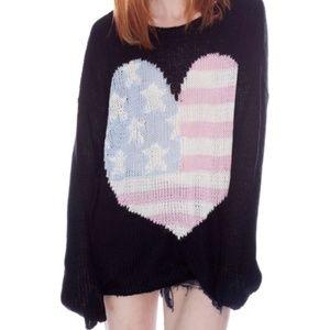Wildfox USA Heart Billy Sweater American Flag
